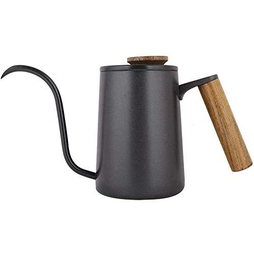 ZHJBD LEIJINGZI Café Recipiente de Goteo, un Cuello de Ganso Caldera Largo caño con Tapa y asa extraíble Anti-Quemaduras, for Las Tiendas de café en casa, Apto for Todas Las Estufas, 600 ml / 21OZ