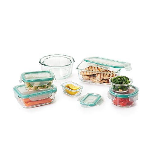 OXO Good Grips 16 Piece Smart Seal Leakproof Glass Food Storage Container Set,Clear