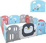 Parque de Juego, Parque de Juego para bebés, Parque Infantil, Patio de Juegos de Seguridad para Niños, Lavable, Portátil, Plegable, Flexible, Espacio Seguro(pingüinos 12+2)