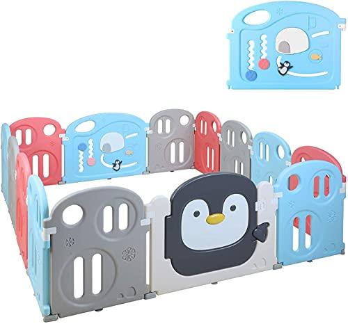 Bamny Parque de Juego, Parque de Juego para bebés, Parque Infantil, Patio de Juegos de Seguridad para Niños, Lavable, Portátil, Plegable, Flexible, Espacio Seguro(pingüinos 12+2)