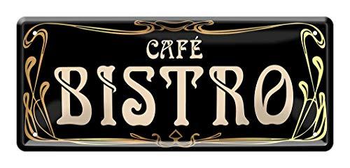 Blechschild Cafe Bistro - Schild im Jugendstil - Metallschild Deko Bistrot - Geschenk für Kaffee Genießer - Dekoschild für Küche, Kaffeeladen, Kneipe, Restaurant, Cafeteria, Kaffeehaus - 28x12cm