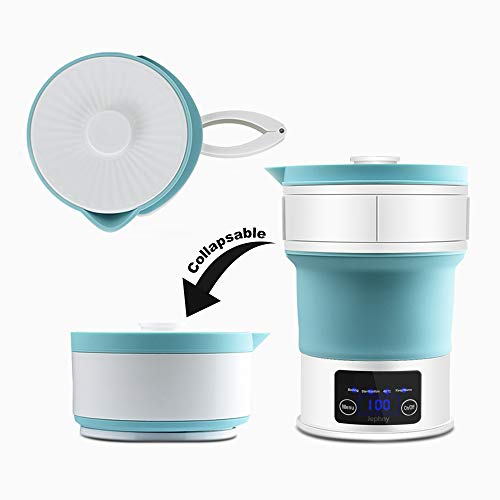 Travel Foldable Electric Kettle  LED Display Food Grade Silicone Collapses for Easy amp Convenient Storage Blue 100120V