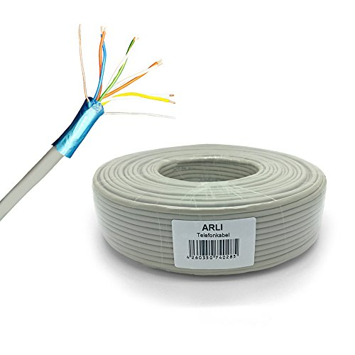 ARLI Telefonkabel 100 m 4 x 2 x 0,6 mm Verlegekabel 4x2 8 Adern JYSTY Telefonleitung ISDN Telefon Sprechanlagen klingel Anlagen Kabel Leitung rund Aufputz Unterputz 100 m 4x2x0,6mm