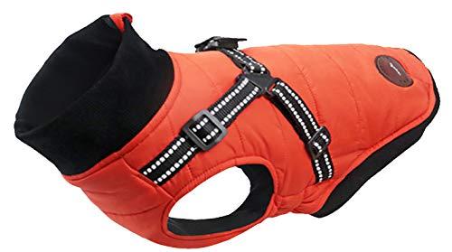 Ctomche Déguisement pour chien - Veste réfléchissante pour chien - Pour sports de plein air - Imperméable - Pour l'hiver - Grand manteau avec trou de harnais - Orange - M