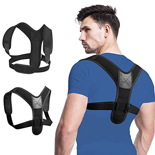 Compact Posture Corrector for Men and Women, Adjustable Upper Back Brace for Clavicle Support, Neck, Shoulder, and Back Pain (Black)