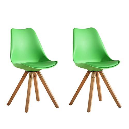 YAWEDA Nórdica Tulip sillas Comedor Moderno, Juego 2, PU Asiento Acolchado Suave, Patas Madera Maciza Haya Natural, Respaldo Forma ergonómica (Color : Green)