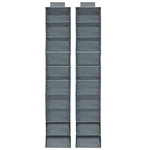 2x Hängeaufbewahrung Kleiderschrank Hängeregal I 10 Fächer I 120x15x30cm I Faltbar I Grau Weiß - Aufbewahrung Organizer