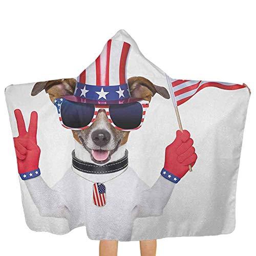 ZHSL 4 juillet, serviette à capuche en coton doux Funny Pet Dog avec un chapeau d'oncle Sam tenant un signe de paix et un drapeau américain épais et exceptionnellement grand multicolore, 51,5 x 31,8 p