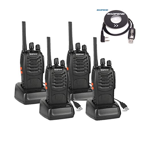 BAOFENG BF-88A Walkie Talkie with Earpiece (Upgrade Version BF-888S) FRS Rechargeable Two Way Radio VOX (Pack of 4) with USB Programming Cable (1PC)