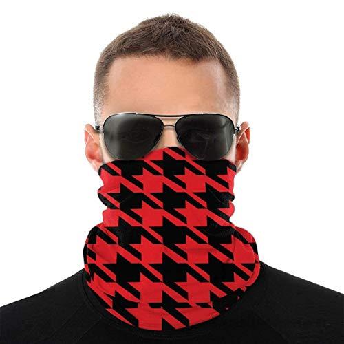 asdew987 Patrón de pata de gallo rojo unisex bufanda de la cara bandana orejeras cara Rave pasamontañas hombres mujeres cuello polainas para polvo viento sol UV motocicleta cubierta