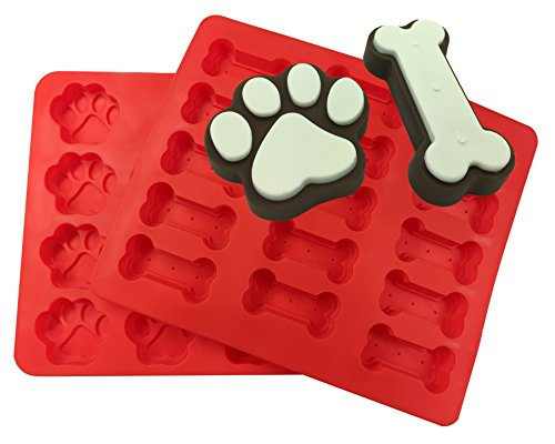 XL Dog Paw and Bone Mold Combo Pack - For Baking Paws and Bones - Silicone by MERRY BIRD
