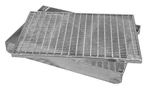 ACO Abtrittrost Fußabtreter + Emco ALU Bodenwanne Schuhabstreifer Abstreifer Abtreter Rost 30/10, Größe:600 x 400 mm