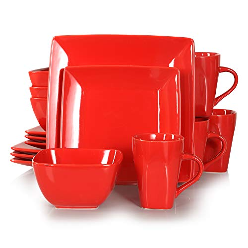 vancasso Serie Soho Juego de Vajillas Porcelana, Vajilla Cuadrada 16 Piezas Vajillas Completas Modernas para 4 Personas Rojo