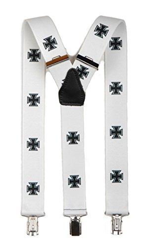 A. Blöchel Extrem breite & Elastische Hosenträger mit 3 Metall Clips Y Form in verschiedenen Farben (Weiß mit Eisernem Kreuz)