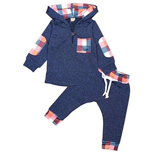 Baby Boys Girls Clothes Wild Boy Hoodie Sweatshirt and Adjustable Pants Toddler Winter Outfits Set Summer 6 Month Baby Sweat Outfits Blue 0-6 Months