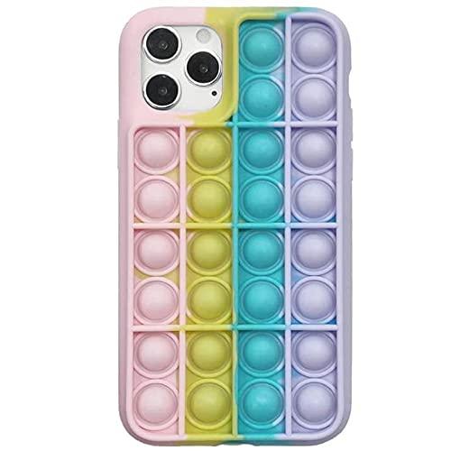 WDL Push Pop Blase Time Spielzeug Telefon Fall 3D Weiche Silikon Rainbow Fall Release Stress Ganzkörper Schutz Stoßfest Decke Für iPhone (Regenbogen) Multi-Colored-for iPhone x/xs