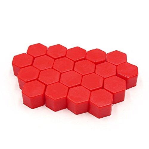 20 dadi per ruota auto, in silicone, 19 mm, colore: rosso