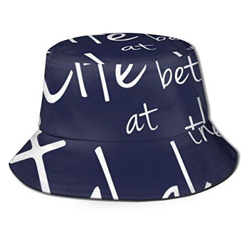 NoneBrand Life Is Better At The Lake Fisherman's Hat Flat Top - Sombrero de cubo transpirable unisex para verano