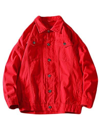 Tebreux Men's Jeans Coat Button Down Denim Jacket Casual Trucker Jacket Outerwear Red S