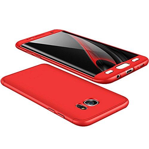 Alsoar Compatibile/Sostituzione per Galaxy S6 Edge Plus Cover Protettiva Galaxy S6 Edge Plus Custodia 2 in 1 Design Ultra-Thin Sottile Antiurto e AntiGraffio Anti-Fingerprint Skid Fade PC (Rosso)