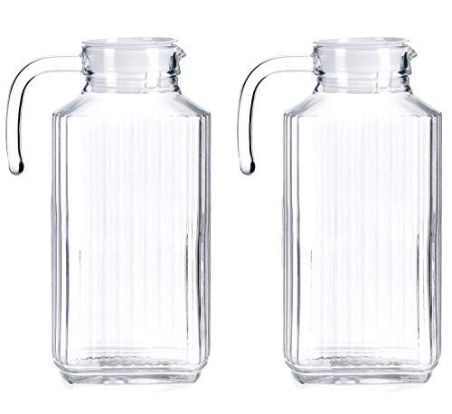 TIENDA EURASIA® Pack 2 Jarras de Agua - Jarras de Cristal con Tapa - Medida Universal Ideal para Neveras (Rectangular 2 x 1,8 L - 9 x 27 x 16,5 cm)