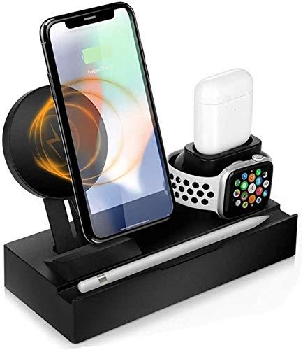 OH Cargador Inalámbrico para Iwatch Series & Airpods, 3 en 1 Dock de la Estación de Carga Inalámbrica para Iphone Se / 11/11 Pro Max/Xs Max/Xs/Xr/X / 8 Ligero y portátil.
