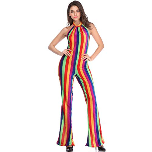 Story of life Disfraz De Halloween Retro para Mujer Cabaret Disco Disfraces Sexy Open Back Clothing DS Clothing Rainbow Color Jumpsuit