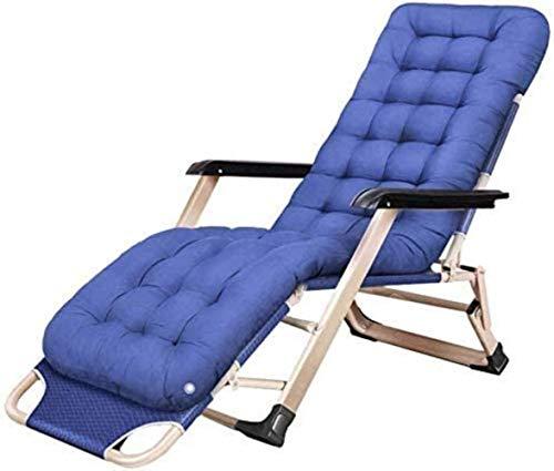 IG Tumbona Sillas de Ocio con Almohadas de Descanso de Jardín Al Aire Libre Jardín Reclinable Plegable Ingravidez Salón para Adultos con el Amortiguador de la Playa Patio Camping (Color: Azul)