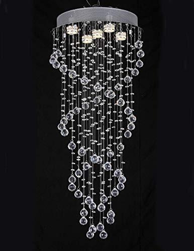 ZCZZ Lámparas de Techo de Cristal, Modernas Gotas de Cristal en Espiral, lámpara Colgante LED de Montaje Empotrado en Cromo para Sala de Estar, Dormitorio, Comedor, Pasillo, Escalera, tamaño