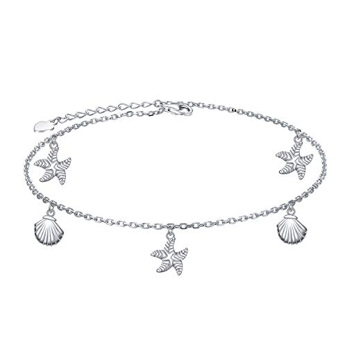 Starfish Shell Anklet 925 Sterling Silver for Women Girls Adjustable Seaside Ankle Bracelet Boho Beach Foot Chain 9+1 Inch Charm Jewelry Best Birthday Gifts