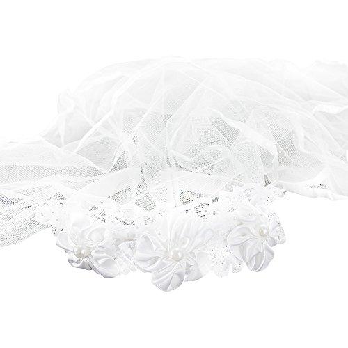 Oblique Unique® Haarreifen mit Brautschleier Blumen und Perlen Junggesellinnenabschied JGA Hochzeit Schleier Weiß
