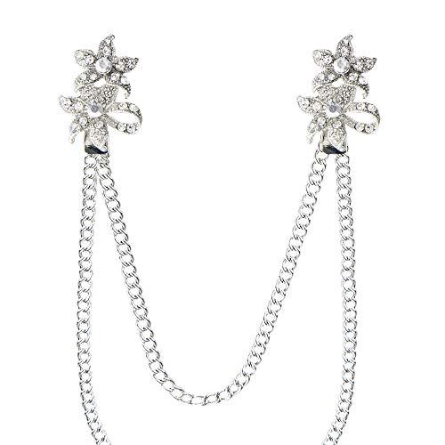 Kragen Clip Kette Cardigan Pullover Schal Strickjacke Strass Silber Anstecknadel Brosche (Blume)