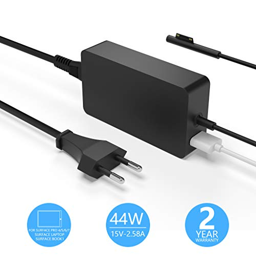 Rytaki Surface Pro Ladegerät,Surface Laptop Ladekabel,44W 15V 2.58A Netzteiladapter kompatibel mit Microsoft Surface Pro 4/5 /6/7,Surface Laptop,Surface Book,mit USB Port und 6ft Netzkabel