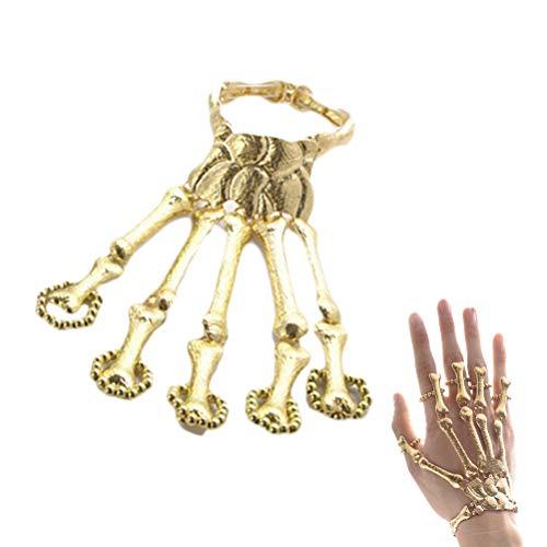 Halloween Ring Armband Handkette Metall Skelett Knochen Hand Kette Fasching Karneval Party Verkleidung Kostüm Zubehör Accessoire(Golden)