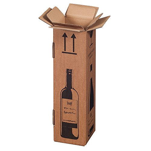 20x Flaschenversandkarton Weinkarton für 1 Weinflaschen (PTZ Zertifikat - DHL/UPS)