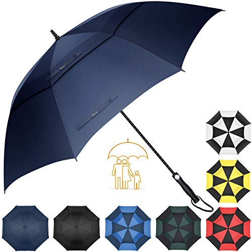 Heasy Large Umbrella Windproof Golf Oversize 68 Inch Automatic Open Double Canopy Vented Stick Rain Umbrellas for Men and Women Navy Blue