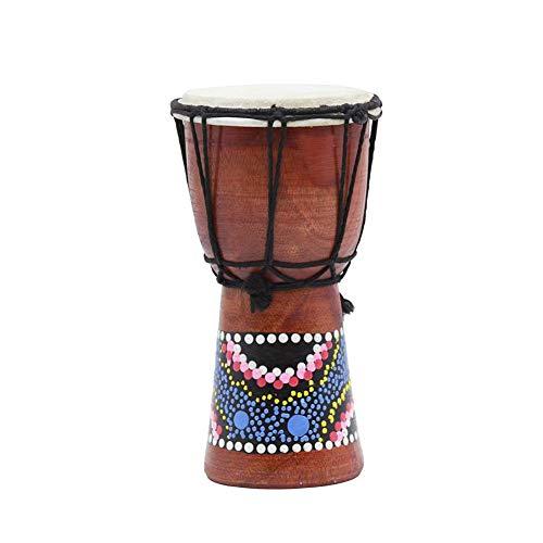 Wateralone Afrikanische Trommel, handbemalt, Bongo Djembe Mahagoni, langlebiges Tamburin, Perkussionsinstrumente für Kinder, Erwachsene, Anfänger, 18 x 12,7 cm