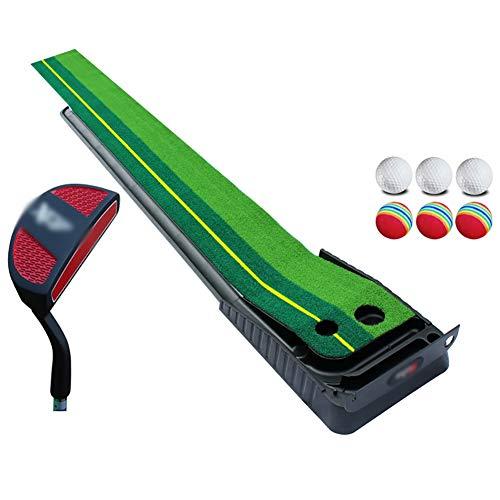 BUYAOBIAOXL Schlagmatte Golf Indoor Outdoor Golf Setzen Grün - tragbare Matte mit Auto Ball Return-Funktion Mini-Golf-Praxis-Trainingshilfe, Spiel und for Zuhause, Büro, (Color : A, Size : 3m)