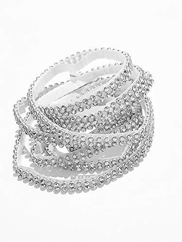 Millioncrystalbody Strasssteine zum Aufkleben Silber, Glitzersteine 2 mm Durchmesser selbstklebend, Strasssteineband zum Kleben, Strassborte zum...