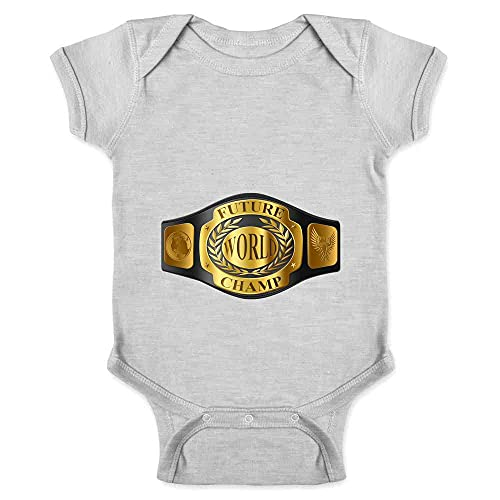Future World Champion Baby Wrestling Boxing Funny Gray 6M Infant Baby Boy Girl Bodysuit