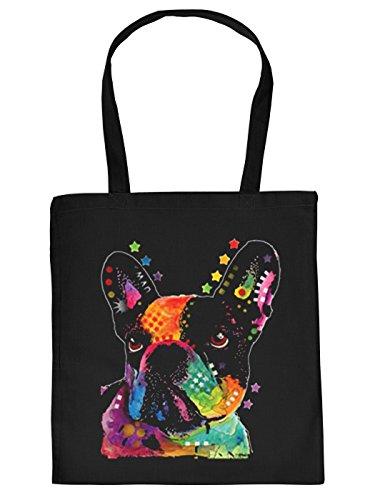 Französische Bulldogge Motiv Stofftasche - Hunde Tasche : French Bulldog - Hunderassen Neon Kunstdruck Baumwolltasche Farbe: schwarz