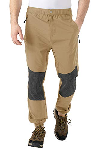 TBMPOY Men's Waterproof Hiking Pants Lightweight Fishing Military Outdoor Travel Pants for Camping,Khaki,Small
