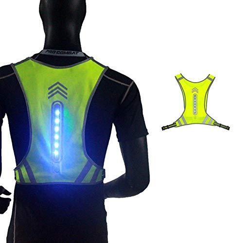 Binwe Reflektierende Laufweste, Nachtlaufende LED-Lichtreflexweste, einstellbare, wiederaufladbare Warnschutzweste zum Joggen, Radfahren, Motorradfahren