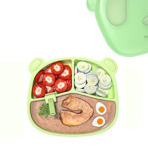Chew Bebe Plato de Alimentación,Plato para Bebe,diseñado con Tres Compartimentos,fácil de Limpiar,diseño de Ventosa Grande,con guardapolvo,con Pajita,Apto para bebés Mayores de 6 Meses,Silicona