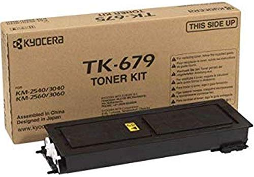 Kyocera 1T02H00CS0 Model TK-679 Black Toner Kit For use with Kyocera KM-2540, KM-2560, KM-3040, KM-3060 and TASKalfa 300i Monochrome Multifunctional Printers; Up to 20000 Pages Yield at 5% Coverage