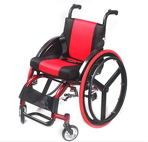 Sillón Sillas de ruedas, sillas de ruedas deportivas y de ocio, plegable ligero ultraligero aleación de aluminio liberación rápida Rueda trasera Amortiguador Ajuste del respaldo Trolleys Scooters para