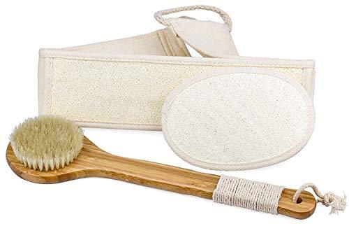 HENTEK Badebürste Peelinghandschuh Rückenschrubber aus Luffa 3 in 1 Körperbürsten Set Duschbürste Body Scrubber Trockenbürste Badeschwamm für Haut Trockene Peeling