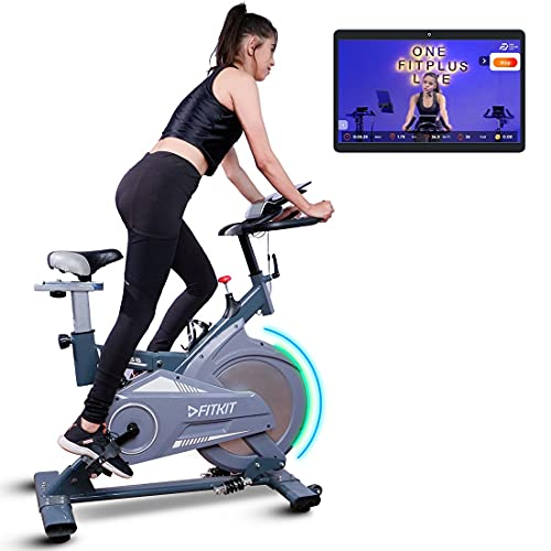 Fitkit FK727 (30lbs Flywheel) Spinner Exercise Bike with Free installation and Connected Live Interative Sessions by OneFitPlus., Grey