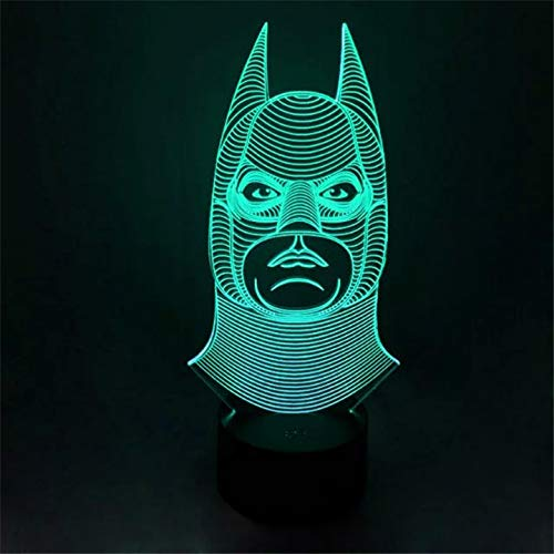 Halloween Novelty Batman Joker Smile Double Face 3D Illusion Bulb Lamp Led Night Light Usb Table Desk Lamps Bedroom