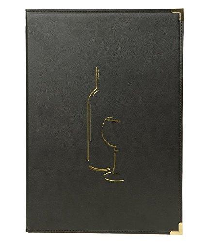 Securt Carta dei Vini A4 Classic - Nero - inserto doppio Incluso -Angoli Protettivi in Metallo e bordi rifiniti